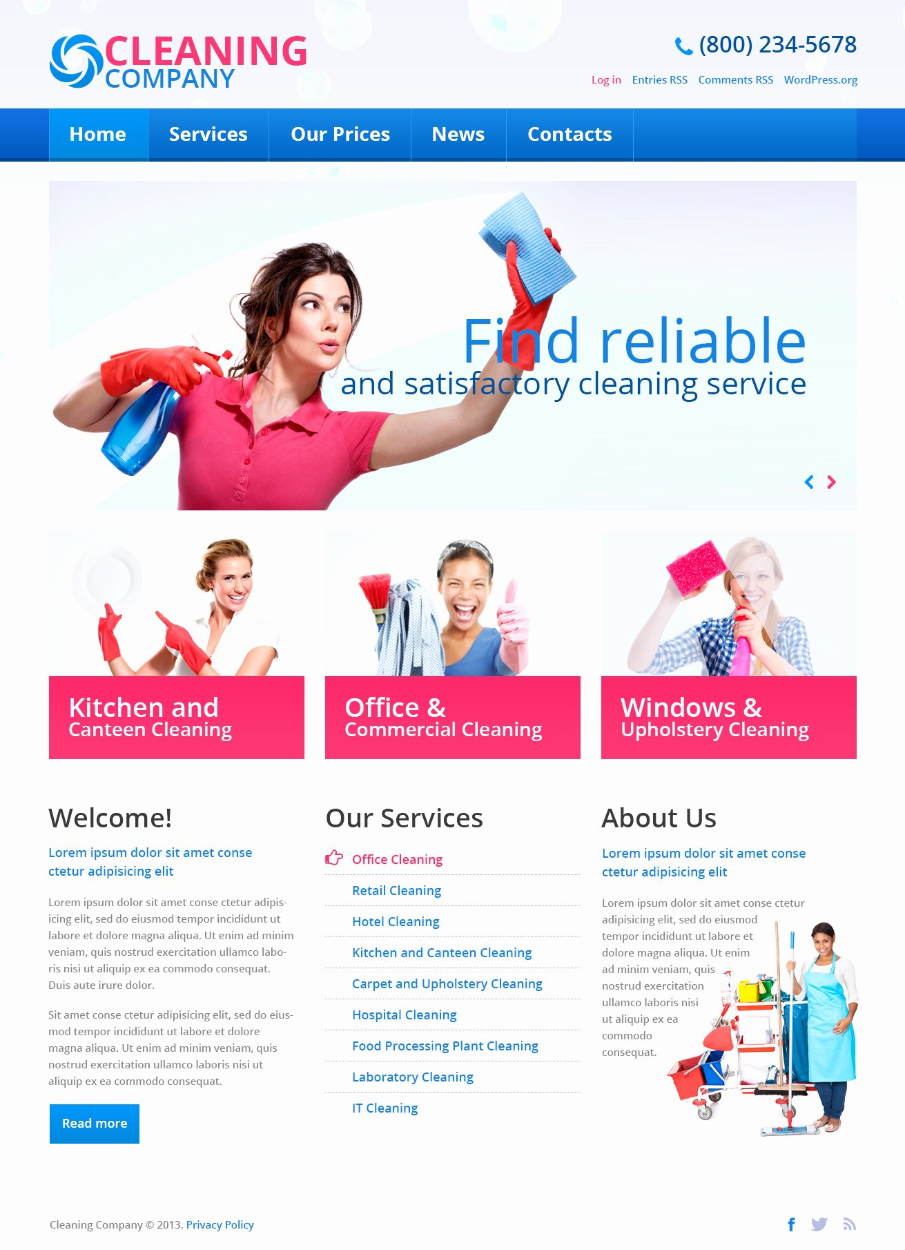 Cleaning Services Website Template Awesome Cleaning Pany Free Wordpress theme