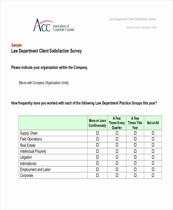Client Satisfaction Survey Template Beautiful Sample Client Satisfaction Questionnaire form 8 Free