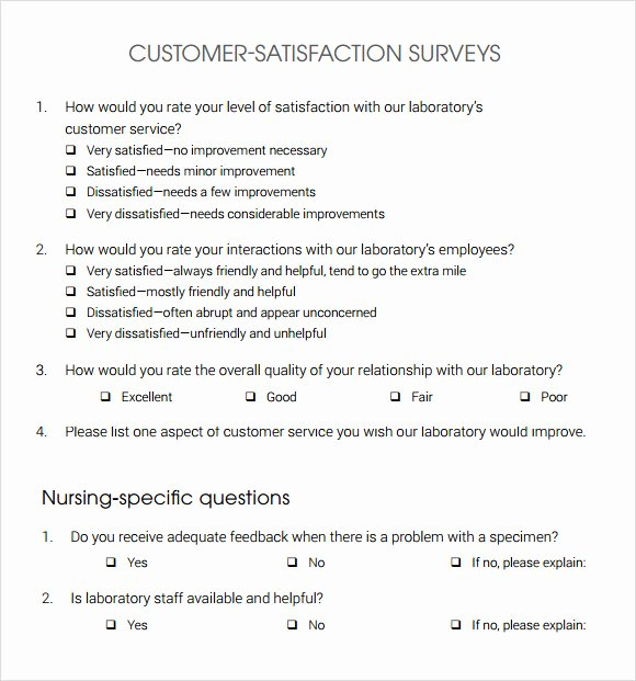Client Satisfaction Survey Template Lovely 13 Sample Customer Satisfaction Survey Templates to
