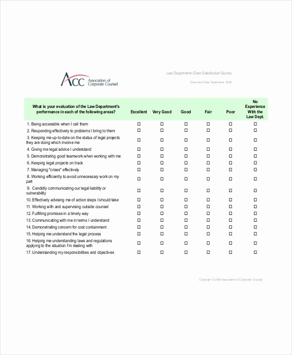 Client Satisfaction Survey Template Lovely Client Satisfaction Survey Template 6 Free Word Pdf