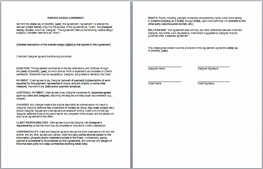 Client Service Agreement Template Beautiful Website Design Contract Template Contract Templates