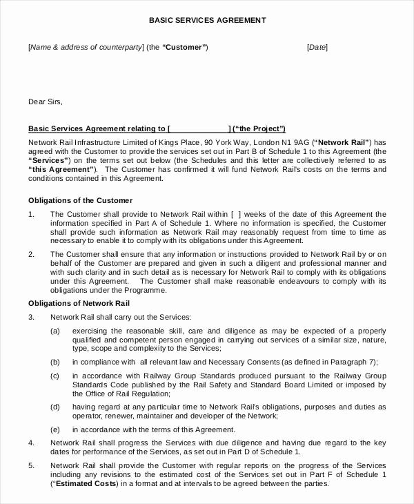 Client Service Agreement Template Elegant Service Agreement Template 18 Free Word Pdf Documents