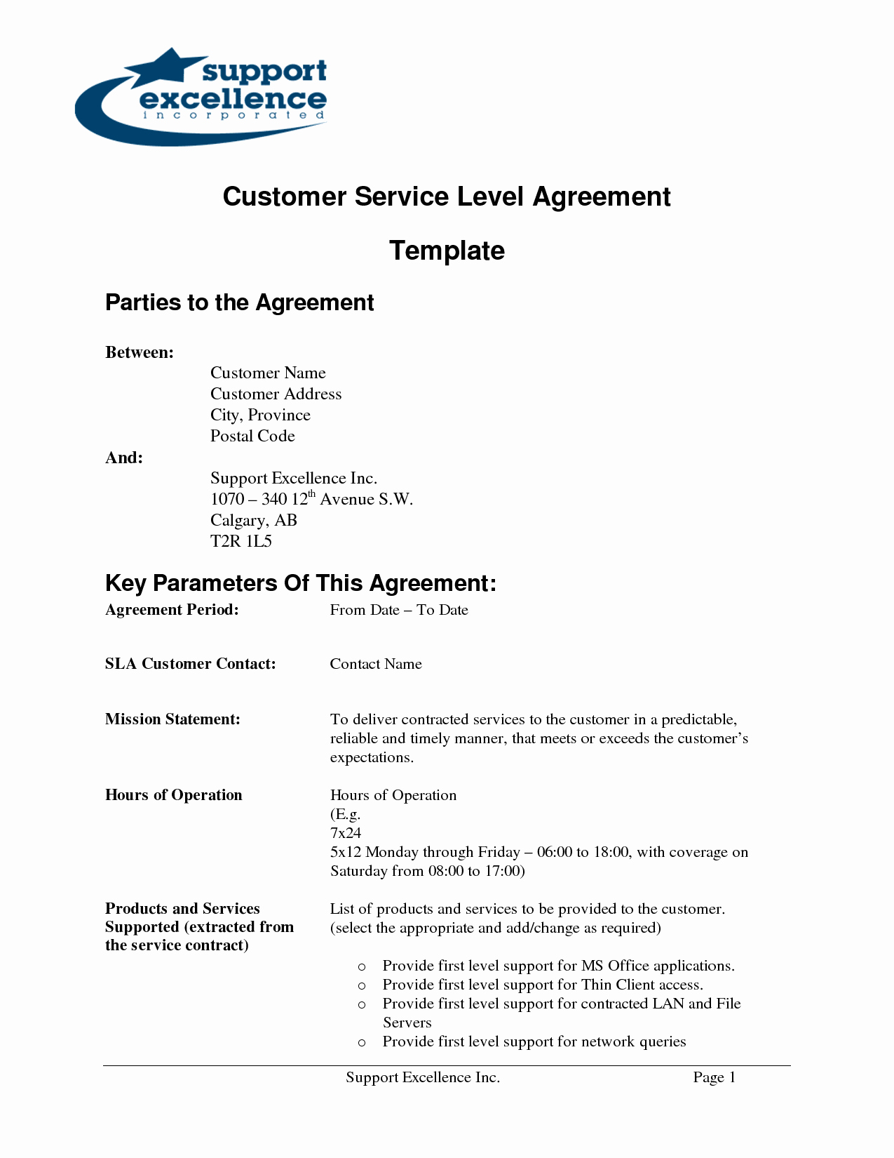 Client Service Agreement Template Luxury 8 Best Of Standard Service Level Agreement Template