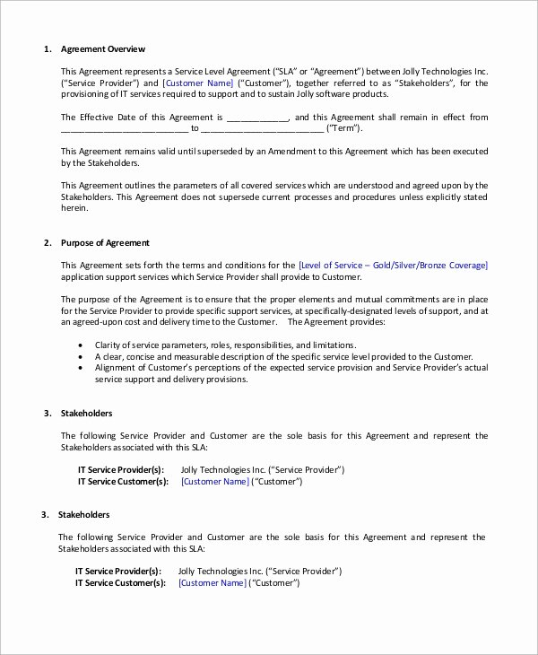 Client Service Agreement Template New 9 Sample Service Level Agreements