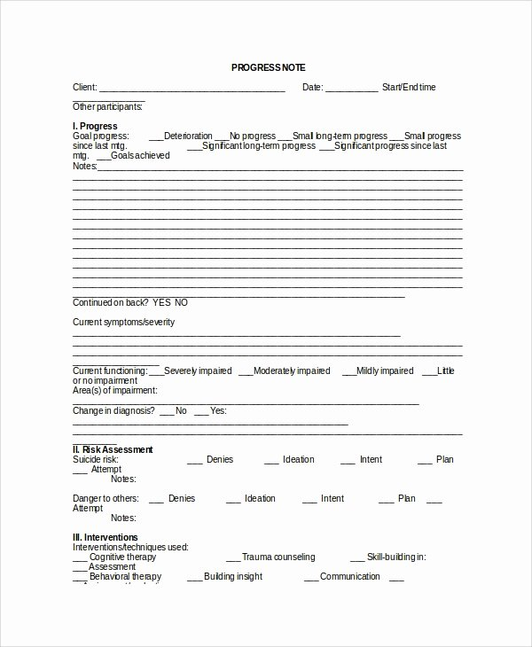 Clinical Progress Notes Template Awesome 6 therapy Notes Templates
