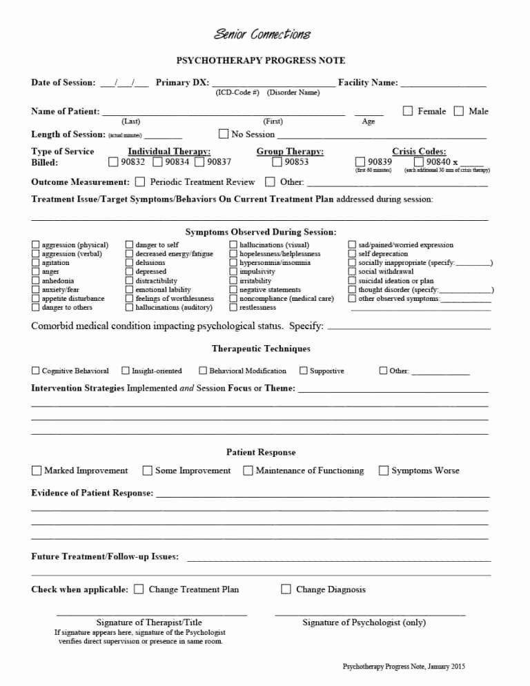 Clinical Progress Notes Template Elegant 43 Progress Notes Templates [mental Health Psychotherapy