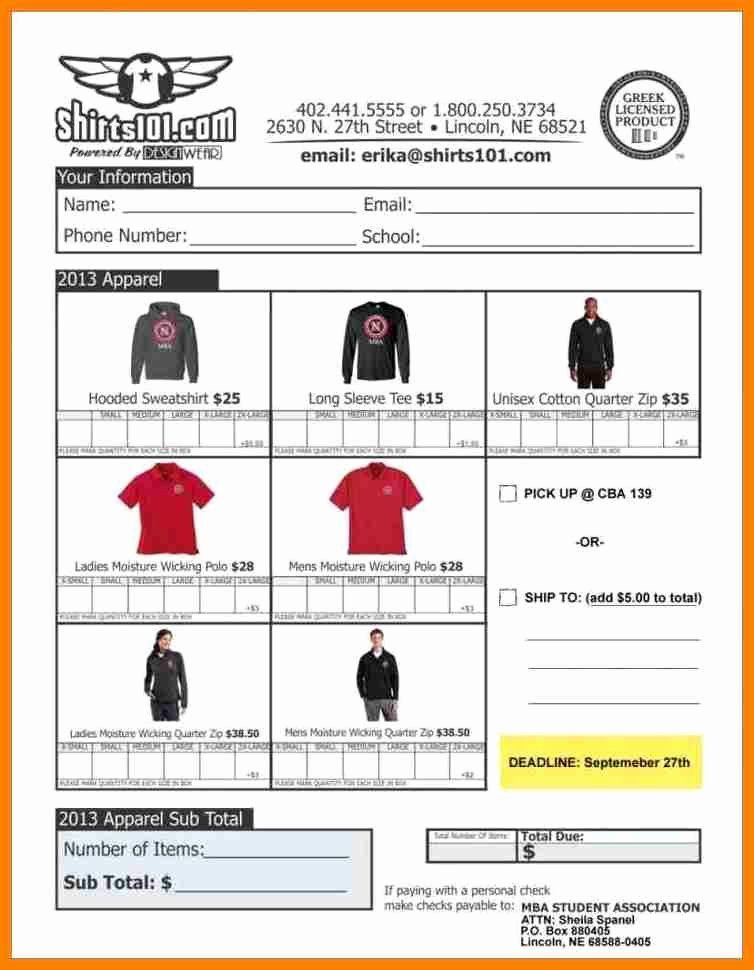 Clothing order form Template Awesome 15 Clothing order forms Steamtraaleren Borgenes