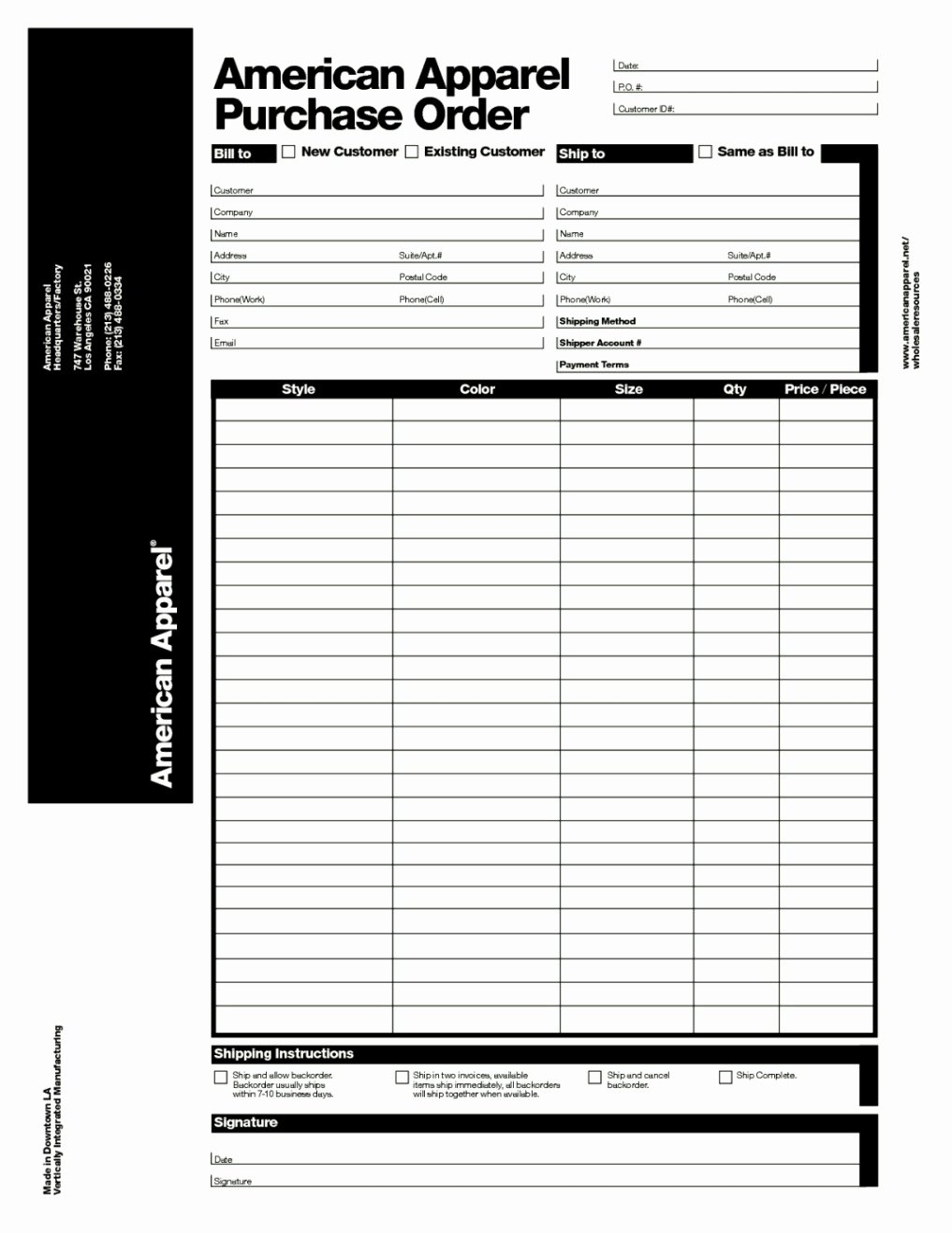 Clothing order form Template Best Of Apparel Purchase order form Template Template Update234