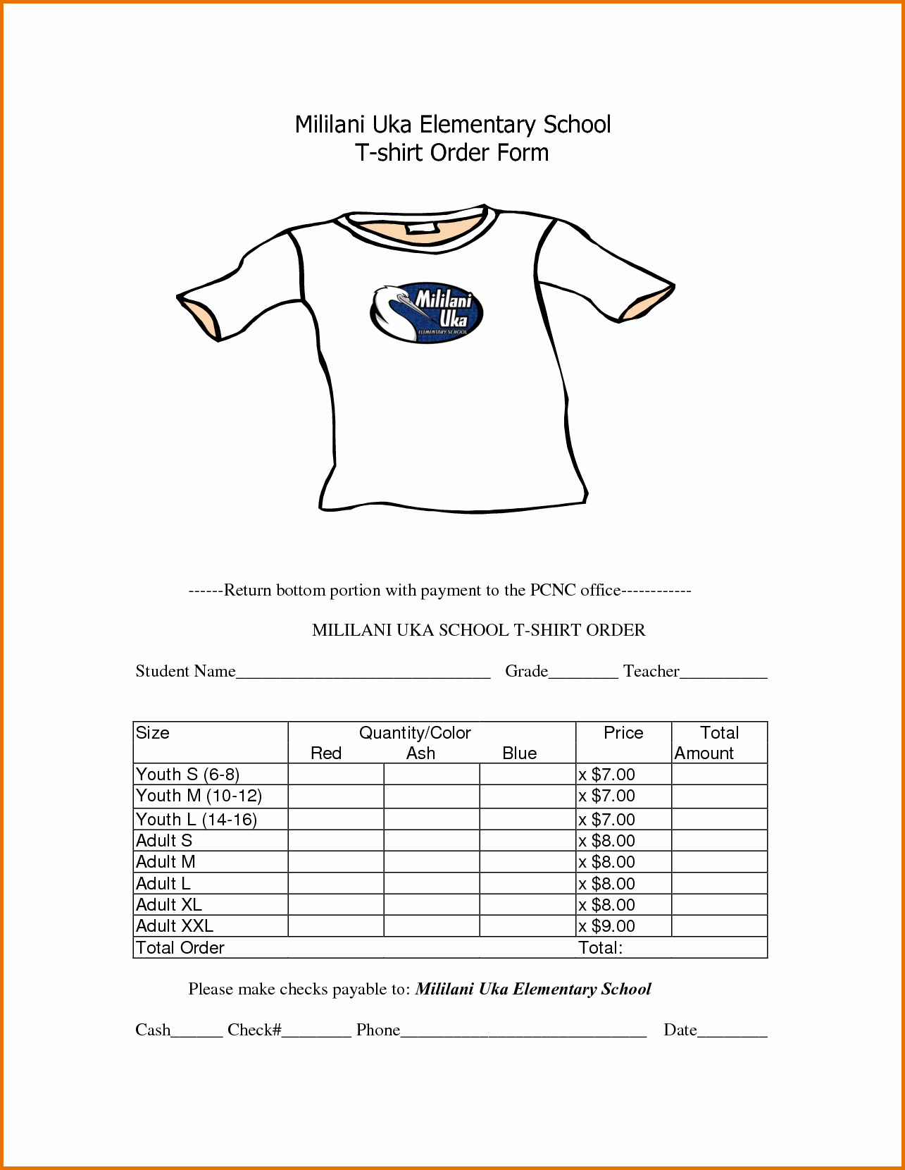 4 t shirt order form template free
