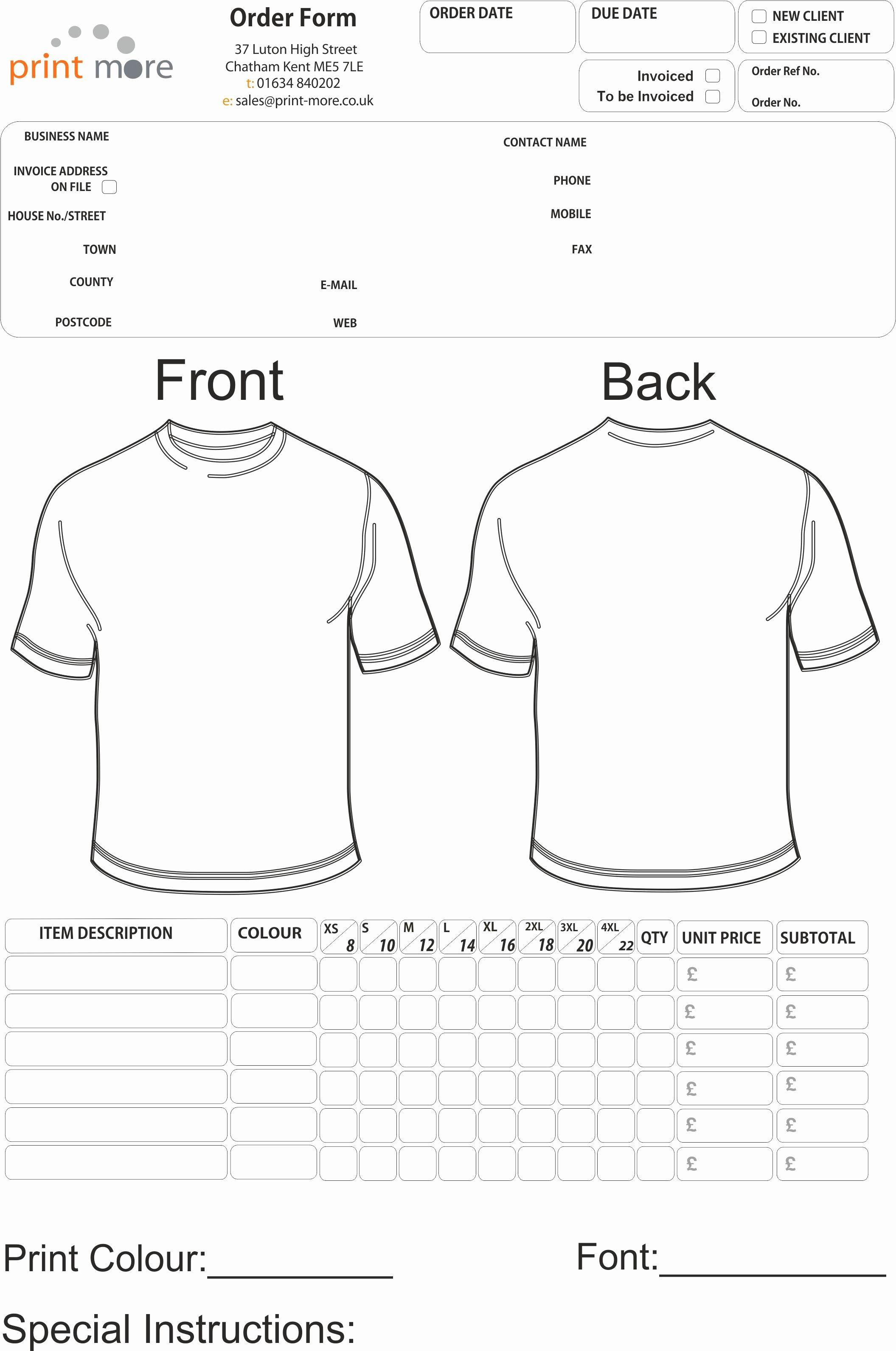 Clothing order form Template Fresh T Shirt order form Template