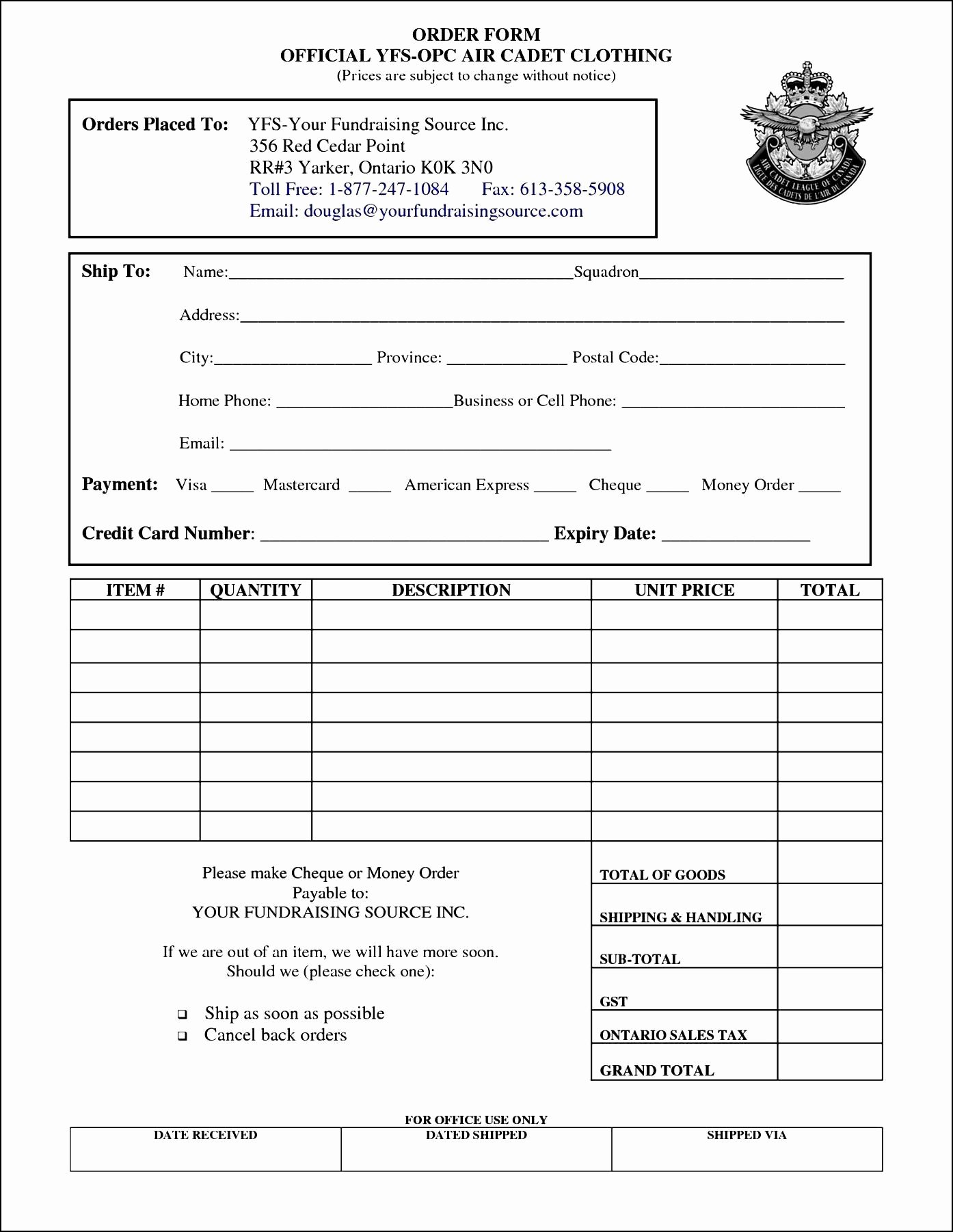 Clothing order form Template New Clothing order form Template Free