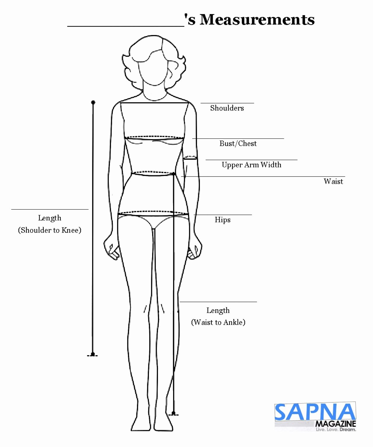 Clothing Size Chart Template Best Of Chart for Body Measurements Weight Loss Measurement