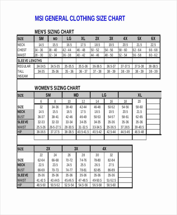 Clothing Size Chart Template Elegant 10 Size Chart – Free Sample Example format Download