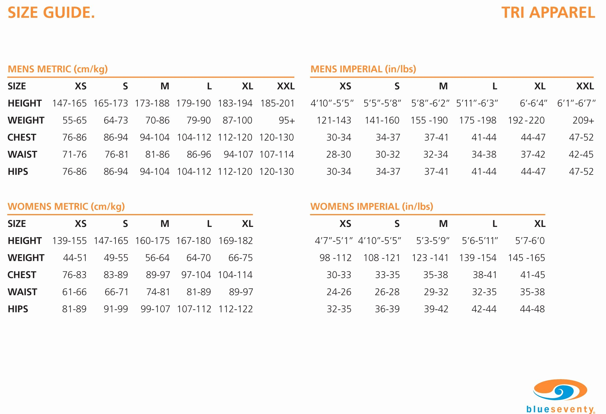 Clothing Size Chart Template Elegant Blue Seventy Tx2000 Trisuit Men S 2015