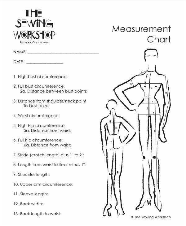 Clothing Size Chart Template Inspirational 9 Measurement Chart – Free Sample Example format