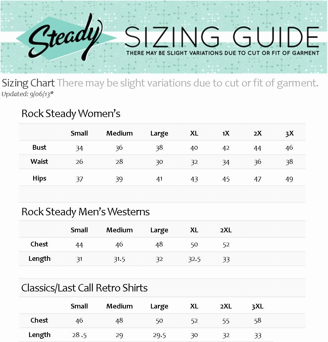 Clothing Size Chart Template Lovely Size Charts for Rockabilly Pin Up Vintage Inspired and