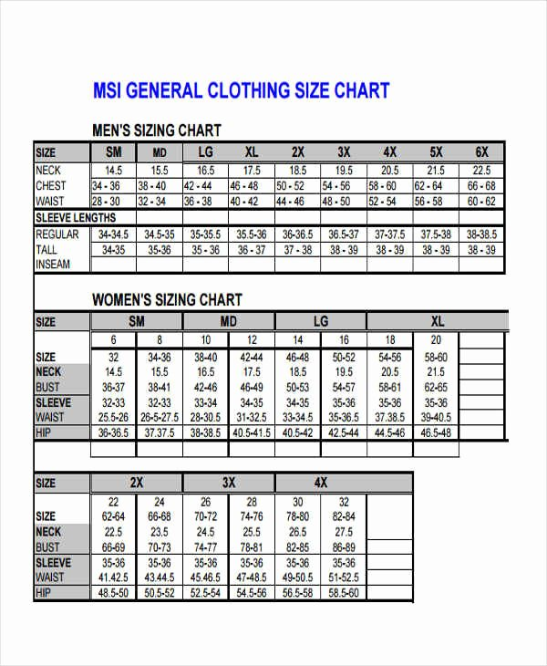 Clothing Size Chart Template Luxury 39 Free Charts