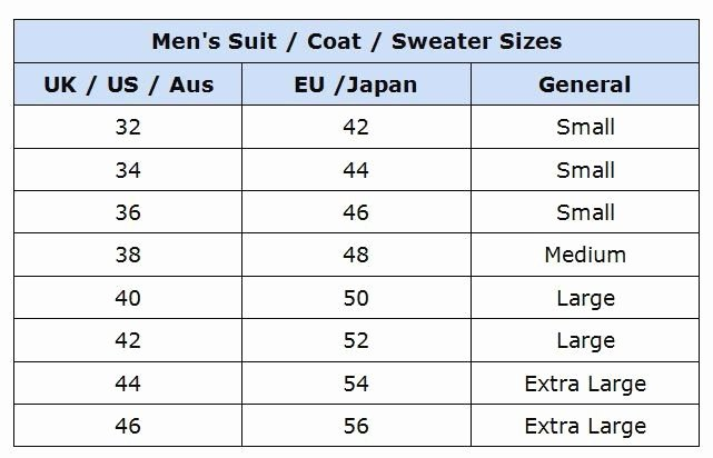 Clothing Size Chart Template Luxury Mens Suit Size Chart Chart Designs Template
