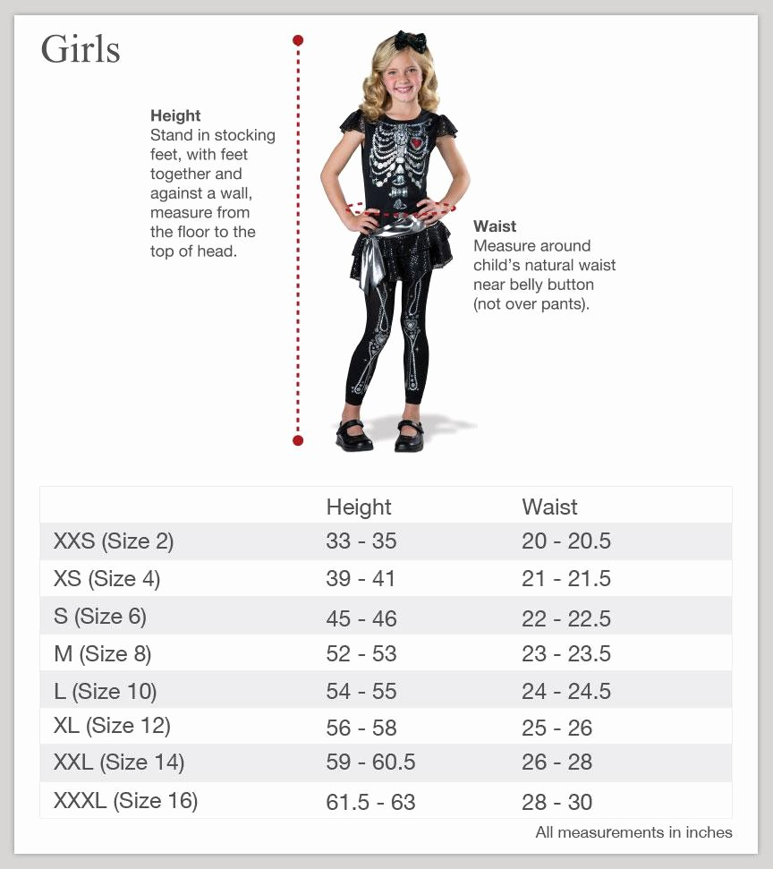 Clothing Size Chart Template Luxury Size Charts – Incharacter Costumes