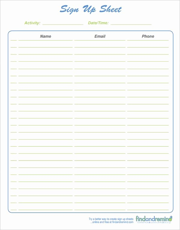 Club Sign Up Sheet Template Awesome 9 Sign Up Sheet Templates Word Excel Pdf formats