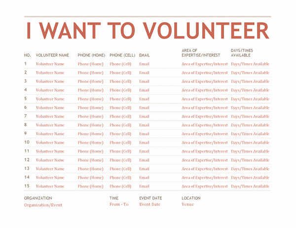 Club Sign Up Sheet Template Best Of Volunteer Sign Up Sheet