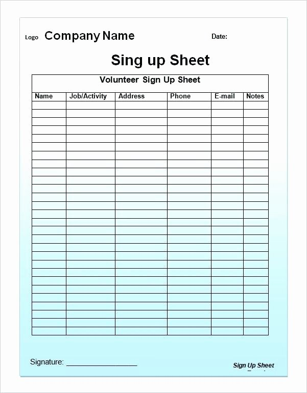 Club Sign Up Sheet Template Luxury Editable Printable Sign Up Sheet Open House In Free