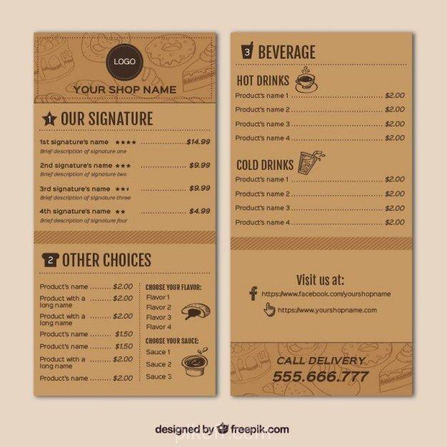 Coffee Shop Menu Template Beautiful [ai] Coffee Shop Menu Template Vector Free Pikoff