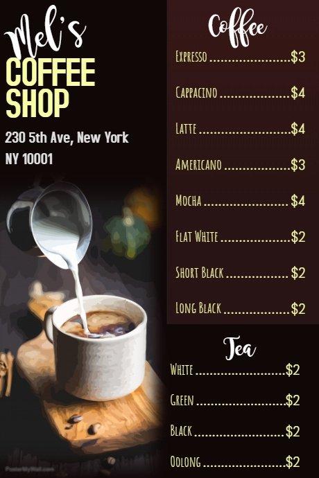 coffee shop menu poster template