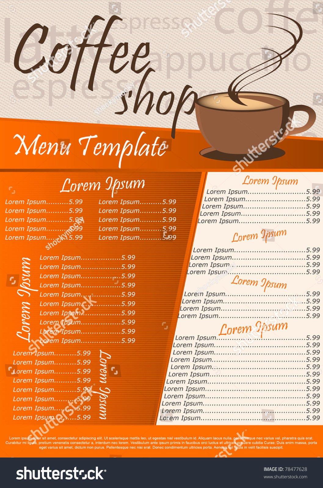 Coffee Shop Menu Template Beautiful Coffee Shop Menu Template Vector Illustration Stock Vector