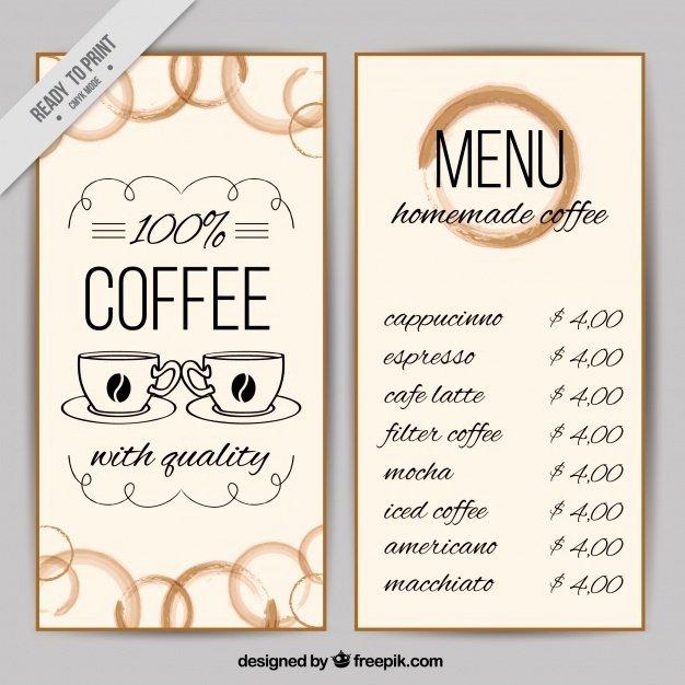 Coffee Shop Menu Template Elegant Coffee Shop Menu Template Vector