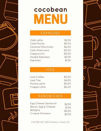 Coffee Shop Menu Template Elegant Customize 283 Coffee Shop Menu Templates Online Canva