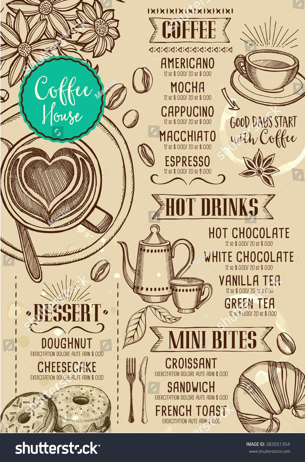 Coffee Shop Menu Template Fresh Coffee Restaurant Brochure Vector Coffee Shop Stock Vector
