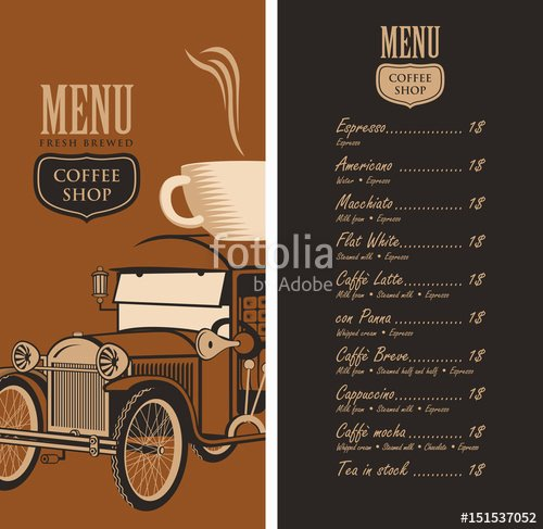 """Coffee Shop Menu Template Fresh """"template Vector Menu for A Coffee Shop with Old Car Cup"""
