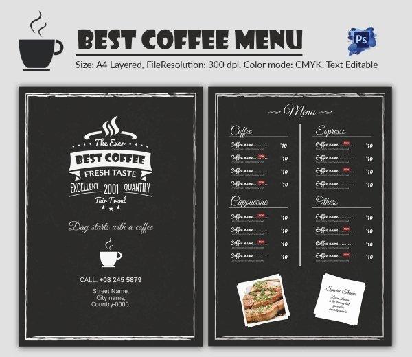 Coffee Shop Menu Template Inspirational Cafe Menu Template 40 Free Word Pdf Psd Eps