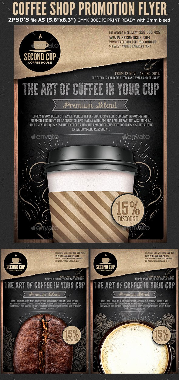 Coffee Shop Menu Template Luxury Coffee Shop Promotion Flyer Template by Hotpin