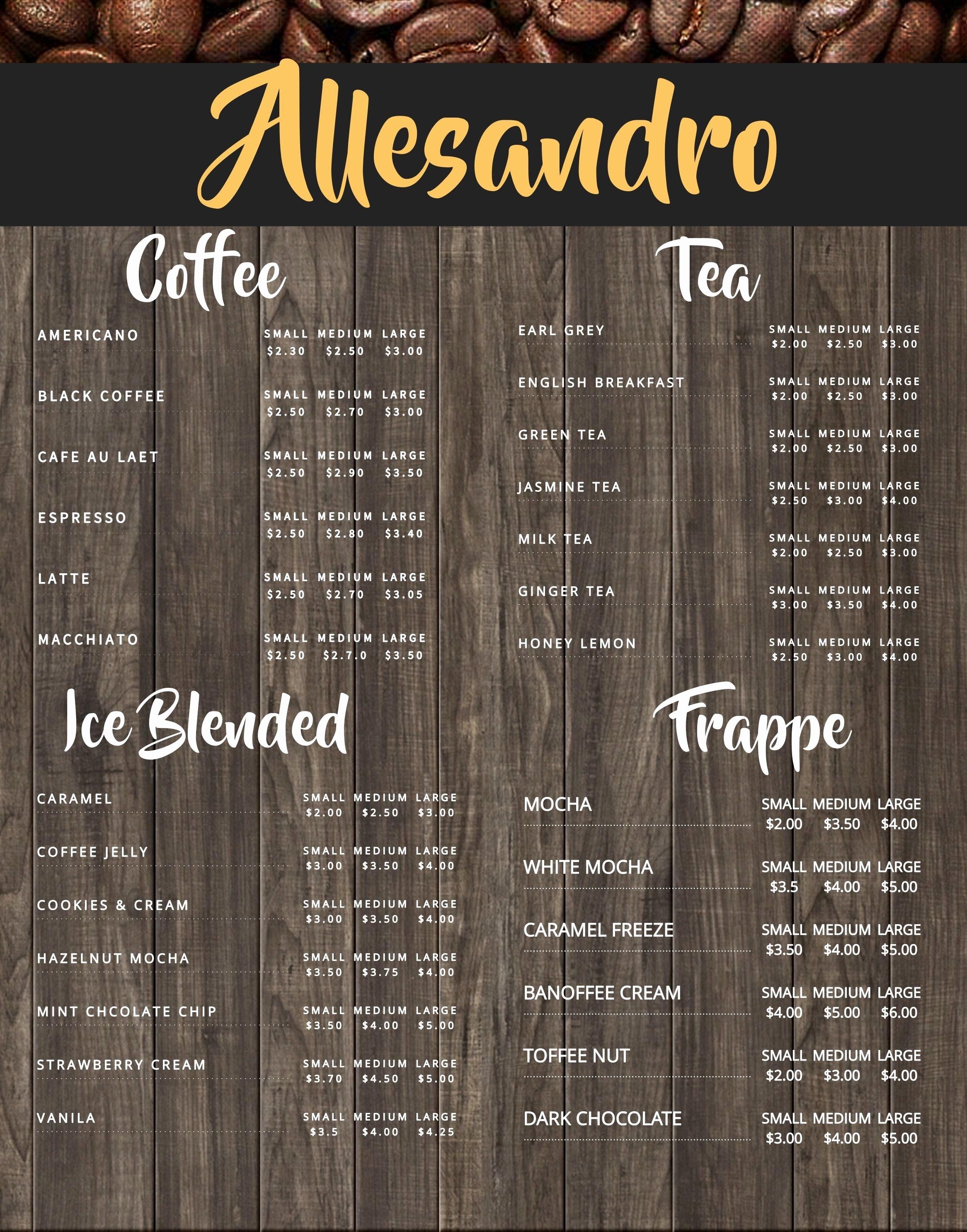 Coffee Shop Menu Template Unique Coffee Shop Menu Board Design Template to Customize