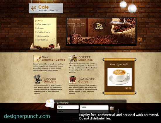 Coffee Shop Website Template Elegant Coffee Shop or Cafe Website Design Template Free Psd