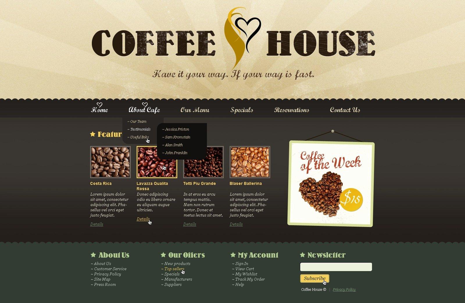 Coffee Shop Website Template Elegant Coffee Shop Website Template