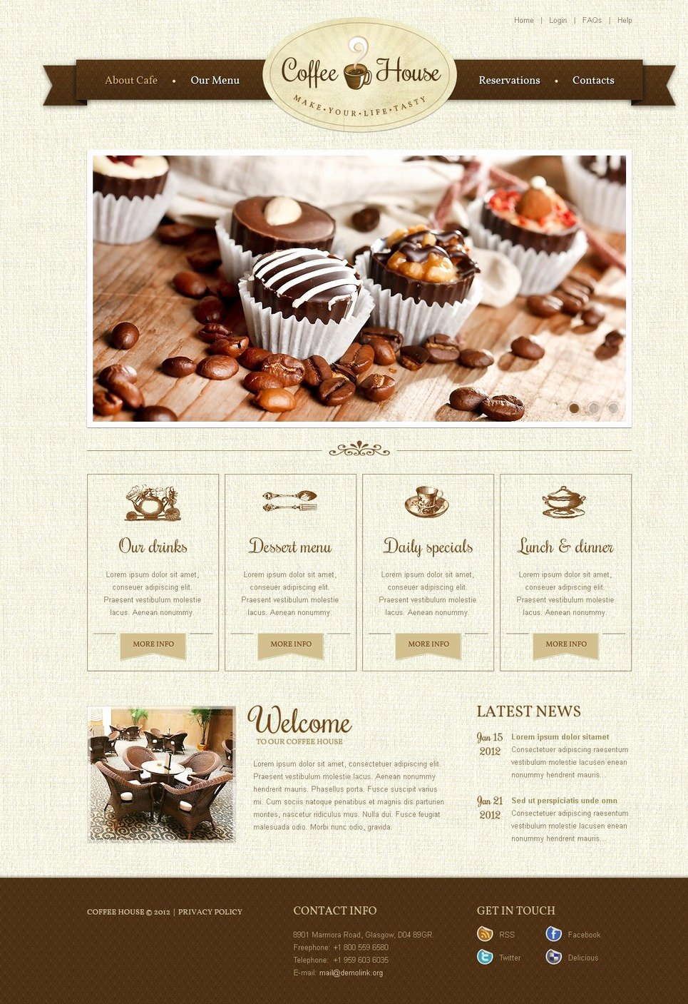 Coffee Shop Website Template Fresh Coffee Shop Website Template