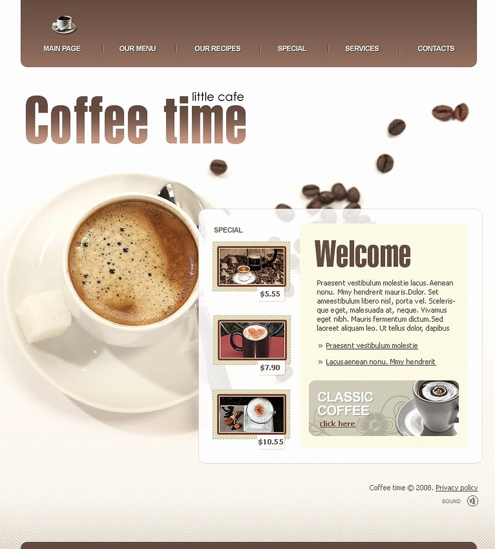 Coffee Shop Website Template Inspirational Coffee Shop Website Template