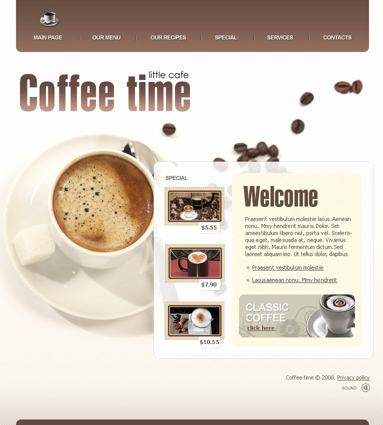Coffee Shop Website Template Lovely Coffee Shop Website Template