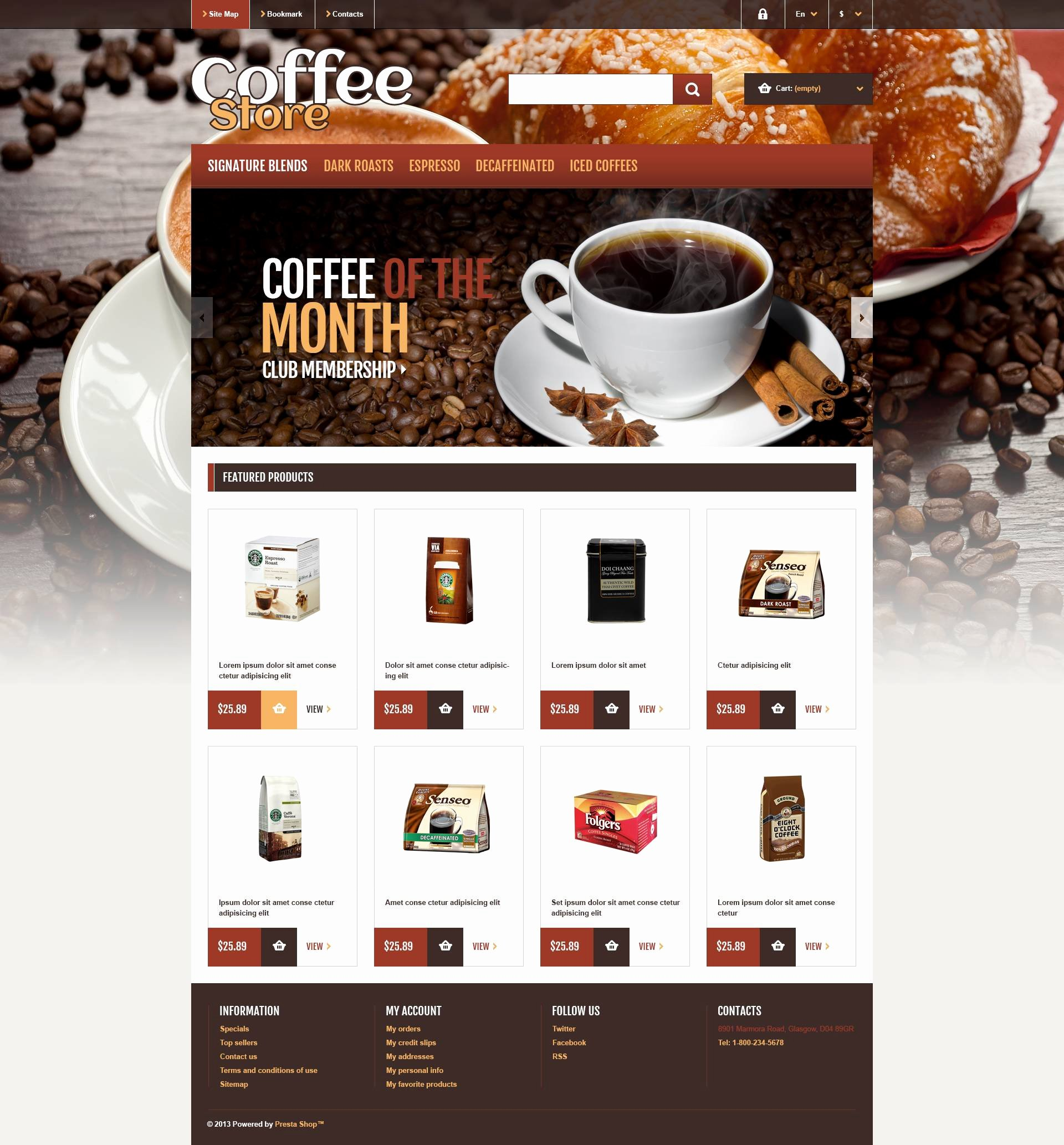 Coffee Shop Website Template Lovely Responsive Coffee Store Prestashop theme