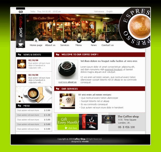 Coffee Shop Website Template Lovely Webfolio Of Web Designer⁄front–end Developer Van Nhi