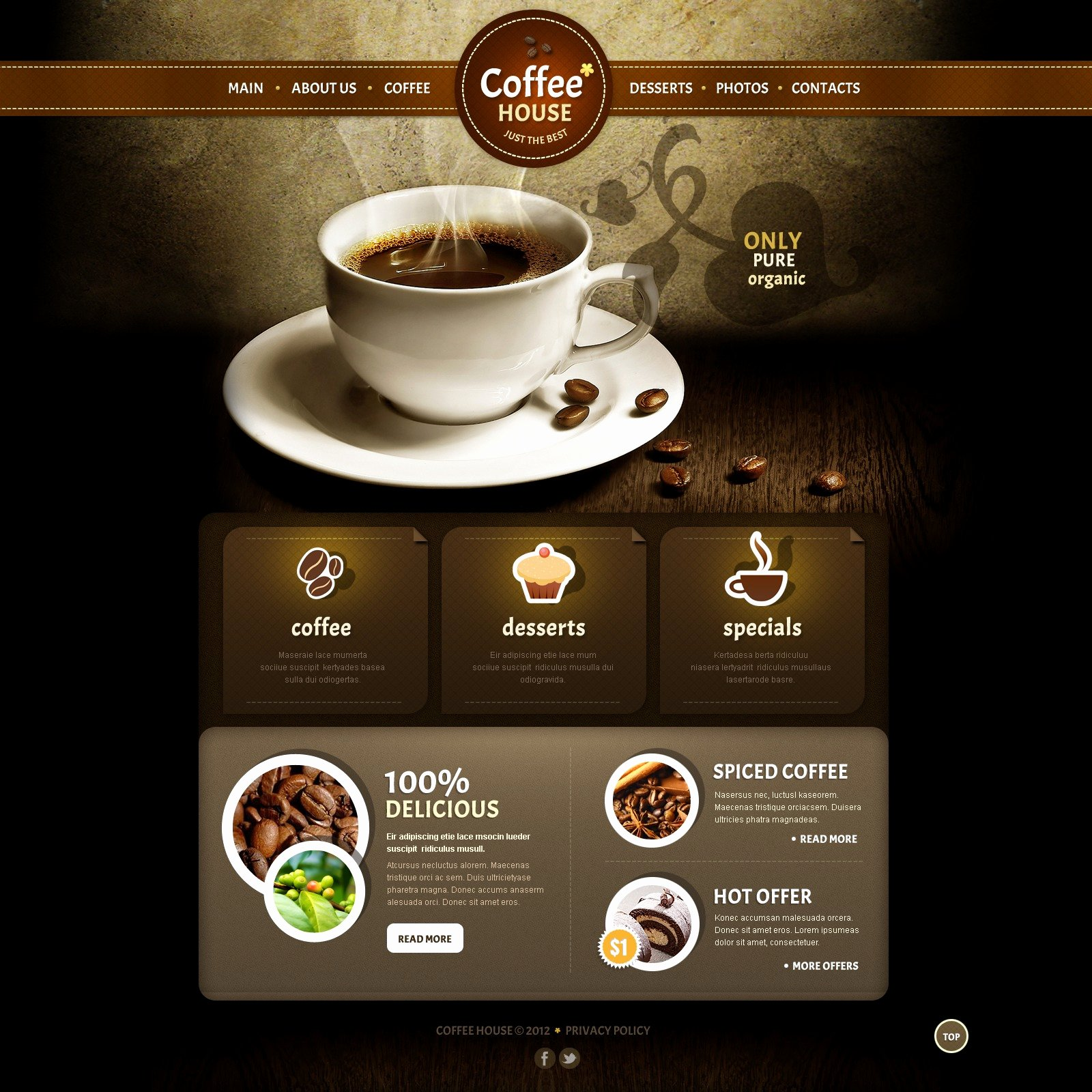 Coffee Shop Website Template Unique Coffee Shop Joomla Template