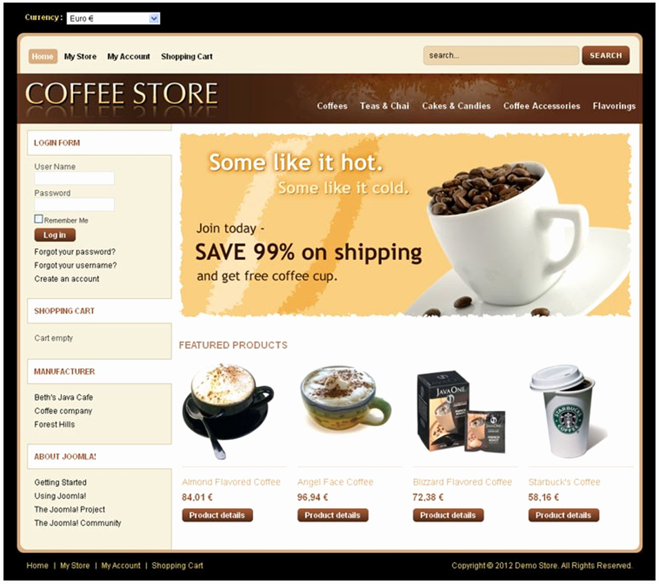 Coffee Shop Website Template Unique Coffee Shop Virtuemart Website Templates & themes Free