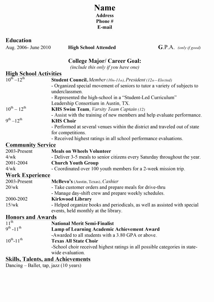 College App Resume Template Beautiful College Resumes for High School Seniors Best Resume