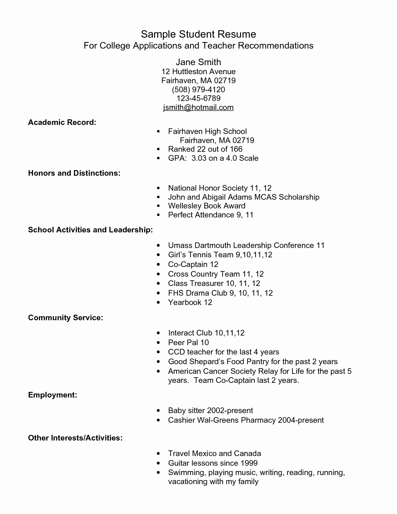 College App Resume Template Beautiful Example Resume for High School Students for College
