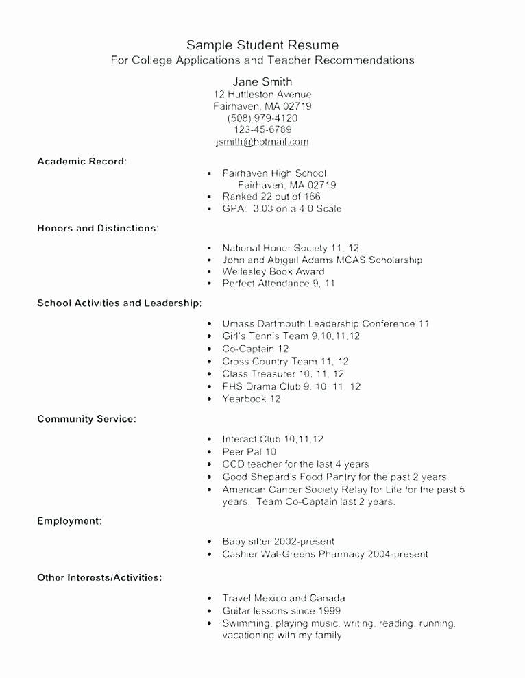 College App Resume Template Elegant College Application Resume Outline – Gyomorgyurufo