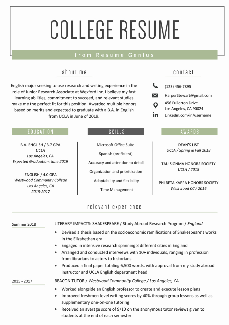 College App Resume Template Fresh College Student Resume Sample & Writing Tips