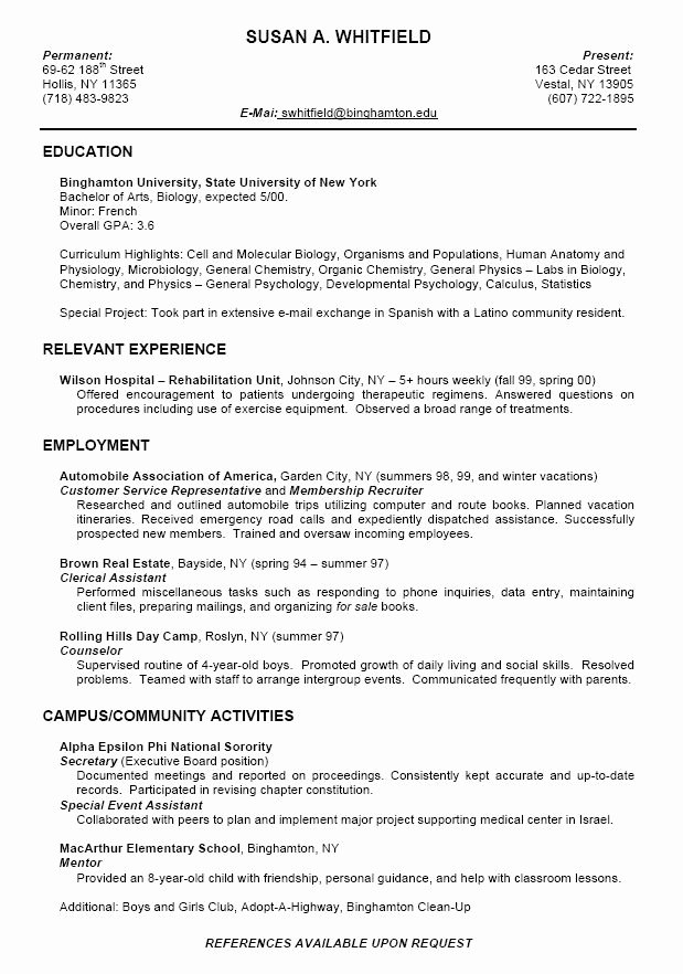 College App Resume Template Inspirational College Application Resume Examples for High School